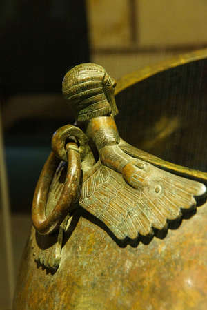Mythical winged figures on bronze cauldron, Gordion civilization from Kazan, 8th c BCE,  Museum of Anatolian Civilization,  Ankara, Turkey Editorial