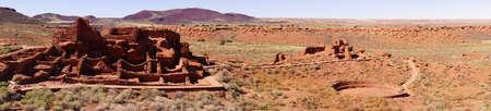 pueblo: Panorama, Wupatki pueblo ruins, 12th century Native American community, Wupatki National Monument, Arizona Stock Photo
