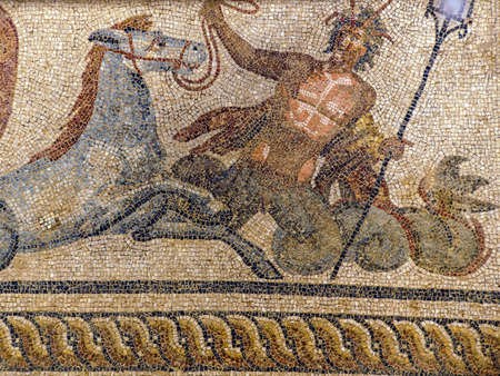 mosaic floor: Poseidon with sea horse Hippokampos abducting Amphitrite  - Roman mosaic in Terrace House at  Ephesus, Turkey