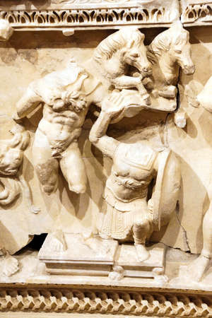 Trials of Hercules, carved on a Roman sarcophagus,  Antalya,  Turkey Editorial