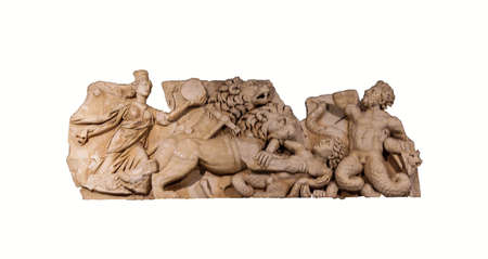 titans: Sculpture of the skene of the Perge theatre - gigantomachia - battle with giants, Antalya museum, Turkey Editorial