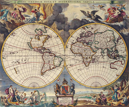 Antique Maps of the World Double Hemisphere Map Moses Pitt c 1680