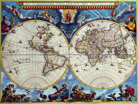 Antique Maps of the World Double Hemisphere Map Joan Blaeu c 1662