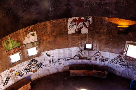 south rim: GRAND CANYON, ARIZONA - SEP 28 -  Native American art decorates the watchtower interior South Rim, Grand Canyon National Park, Arizona