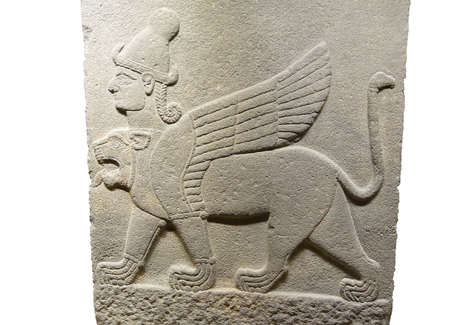 ANKARA, TURKEY - MAY 21, 2014 -   Griffin mythical winged beast, from Kargama about 800 BCE,