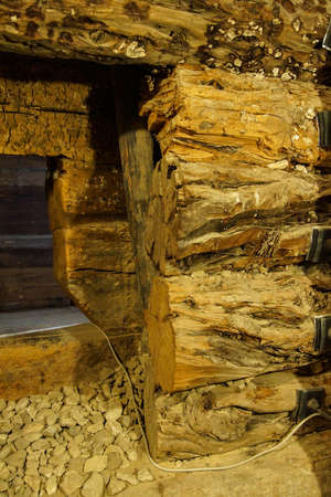 midas: Timbers 3000 years old form  the inner chamber of the tomb of King Midas of Phrygia,Gordion, Turkey
