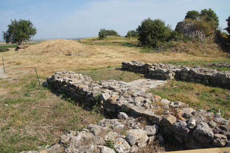 troy: Remains of the walls of Troy, possibly Priams city of the Iliad, . Turkey