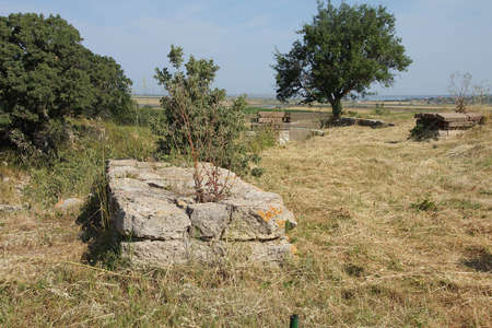 troy: Remains of the walls of Troy, possibly Priam city of the Iliad,Turkey Stock Photo
