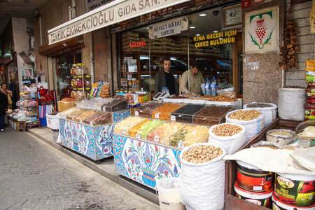 ISTANBUL - May 14, 2014 - Candied fruit with Iznik tile display  in Istanbul, Turkey