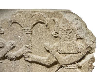 orthostat: ANKARA, TURKEY - MAY 21, 2014 -  Bull man holding tree trunk, from Kargama about 800 BCE,