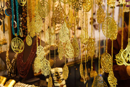 gold souk: Gold and sikver jewelry on display  in the Grand Bazaar (Kapali carsi ) in Istanbul, Turkey