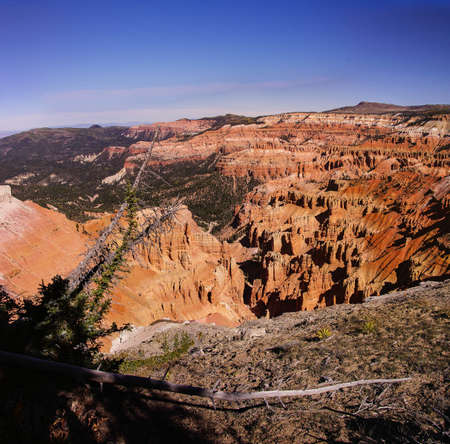 Spectra Point view of fantasticly eroded red Navajo sandstone pinnacles and cliffs Cedar Breaks National Monument, Utah Stock Photo