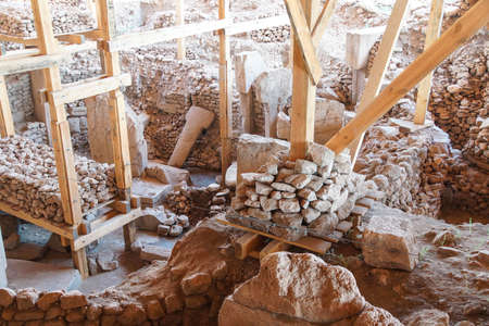 potbelly: Strange carvings and  steles in the archaeological site of ancient town of  Gobekli Tepe (Pot-belly Hill) in Southeastern Turkey