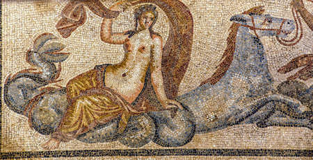 abduct: Poseidon with sea horse Hippokampos abducting Amphitrite  - Roman mosaic in Terrace House at  Ephesus, Turkey