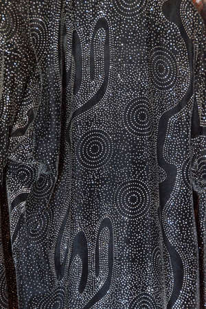 Detail, arabic stlye dresses with embroidery and sequins, in Harran,  Turkey