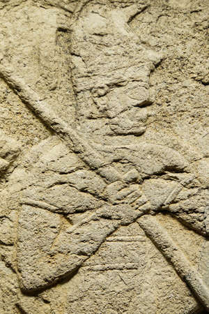 orthostat:  Detail, soldier carrying spear from Kargama about 800 BCE,  Ankara, Turkey