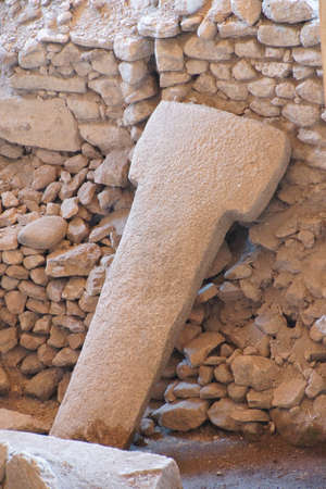 potbelly: Strange carvings steles in the archaeological site of ancient town of  Gobekli Tepe (Pot-belly Hill) in Southeastern Turkey Stock Photo