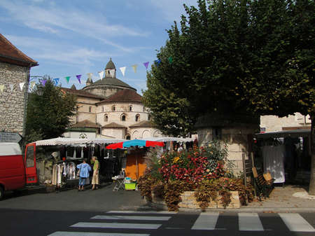 SOUILLAC, FRANCE - Sep 16, 2011 - Shoppers visit the weekly market vans and stalls in Souillac , France