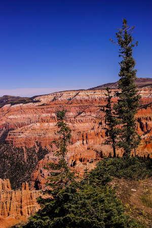 breaks: Detail, pinnacles and hoodoos of red Navajo sandstone  in the canyons of Cedar Breaks National Monument, Utah