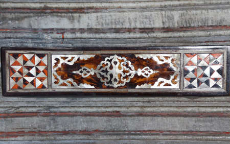 marquetry: Detail panel of  mother of pearl inlays  in the Harem  in Topkapi Palace,  in Istanbul, Turkey Editorial