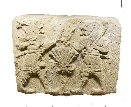 orthostat: ANKARA, TURKEY - MAY 21, 2014 -  Two lionmen from Aslantepe,Malatya,1200 BCE,  Museum of Anatolian Civilization, Ankara, Turkey Editorial