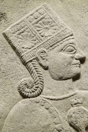 orthostat: ANKARA, TURKEY - MAY 21, 2014 -  Goddess Kubaba, detail,from Kargama about 800 BCE,  Ankara, Turkey Editorial
