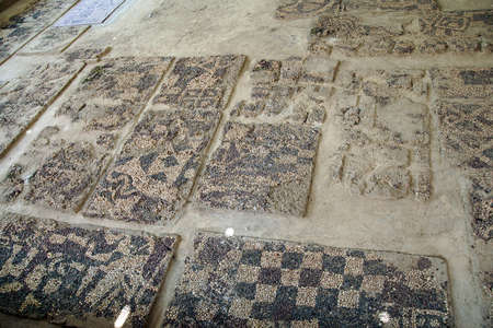 Ancient pebbled floor mosaic found near  tomb of King Midas of Phrygia,Gordium, Turkey Editorial
