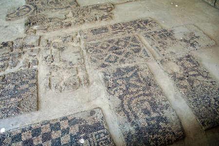 midas: Ancient pebbled floor mosaic found near  tomb of King Midas of Phrygia,Gordium, Turkey Editorial
