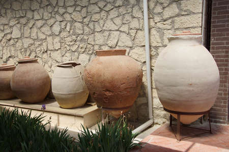 tumulus: Ancient urns and jars found near  tomb of King Midas of Phrygia,Gordium, Turkey