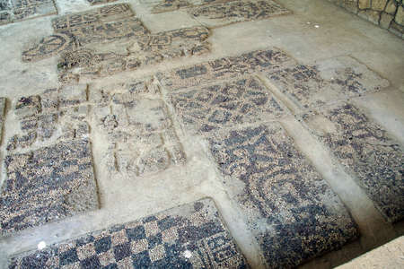 tumulus: Ancient pebbled floor mosaic found near  tomb of King Midas of Phrygia,Gordium, Turkey Editorial
