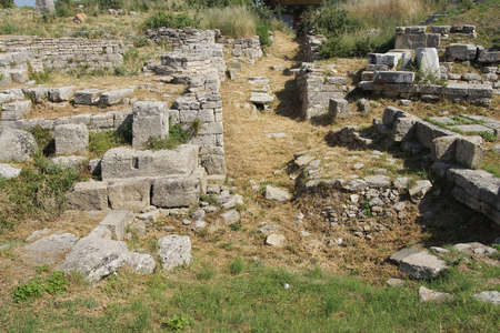 possibly: Remains of the buildings near the agora of Troy, possibly Priams city of the Iliad, . Turkey