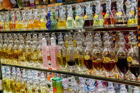 ISTANBUL,  TURKEY - May 13, 2014 - Scents, attars, essences and perfumes in Istanbul, Turkey