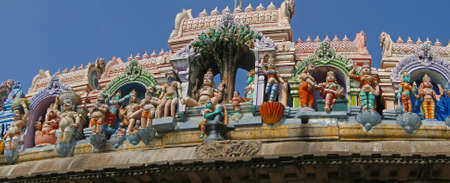 parvati: Parvati,  Shiva and other gods,  at Siva temple entrance in Kanchipuram, Tamil Nadu, India, Asia Stock Photo