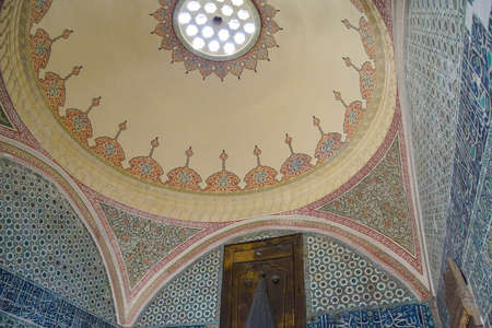 ISTANBUL, TURKEY - MAY 17, 2014 -Dome of the reception room within the harem  in Topkapi Palace,  in Istanbul, Turkey