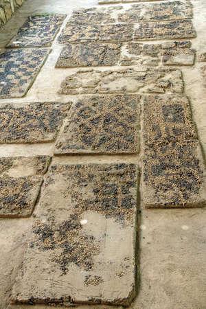 midas: Ancient pebbled floor mosaic found near  tomb of King Midas of Phrygia,Gordium, Turkey Stock Photo