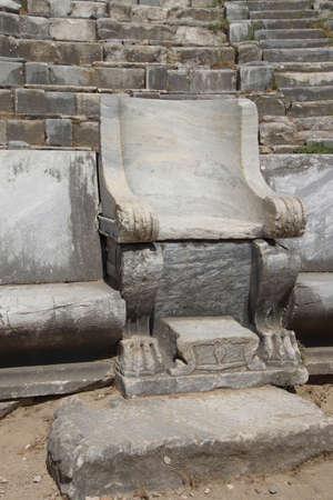 teatro antico: Posti a sedere riservato, teatro antico, Priene, Turchia Archivio Fotografico