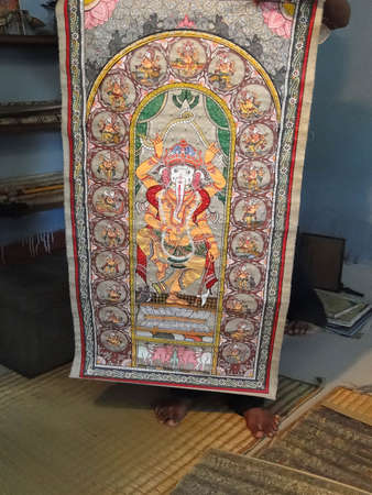 puri: Colorful Indian miniature religious painting in Puri, India