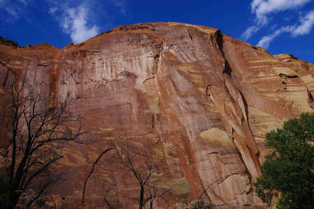 sedimentary: Sedimentary rock formation cliff, red layers of  sandstone at dusk, Capitol Reef National Park, Utah