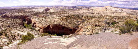arroyo: Panorama, weathered yellow sandstone arroyos and canyons,Escalante Staircase National Monument, Utah
