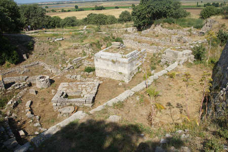 troy: Remains of the buildings near the agora of Troy, possibly Priams city of the Iliad, . Turkey