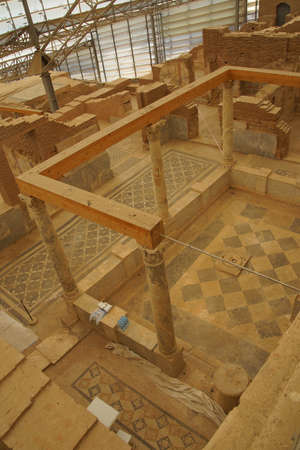 archaeologists: EPHESUS, TURKEY - MAY 25, 2014 -  Excavations by archaeologists have revealed painted Roman frescoes on the walls of private homes on the terraces above  Ephesus, Turkey
