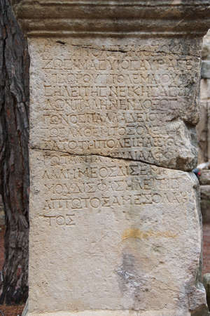 Greek inscriptions on marble columns,  Phaselis,  Turkey Reklamní fotografie