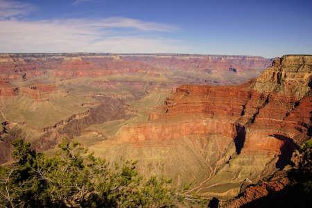 hopi: Tra Mohave Point e Hopi Point, vista nel tardo pomeriggio nella gola del fiume Colorado su Rim Trail South, al Parco Nazionale del Grand Canyon, Arizona Archivio Fotografico