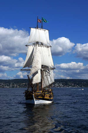 ketch: Two masted tall ship sails on Lake Washington Stock Photo