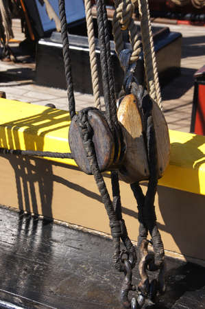 ketch: Block and tackle for rigging on  wooden tall ship   near Kirkland , Washington.
