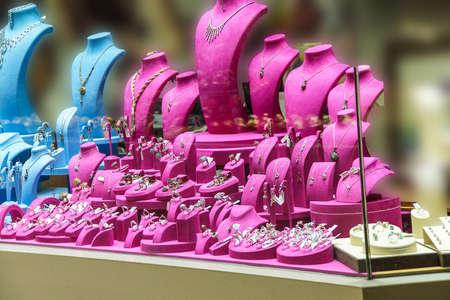 Brightly colored jewelry display  in shop window  in the bazaar of  Bursa, Turkey