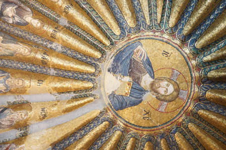 enthroned: ISTANBUL, TURKEY - MAY 15, 2014 -Jesus Christ Pantocrater, enthroned,  mosaic,  south dome of Inner Narthex, Chora Church (Kariye Museum), St Saviour  in Istanbul, Turkey Editorial