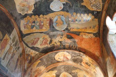chora: ESTAMBUL, Turqu�a - 15 de mayo 2014 -Mosaics y frescos en el techo de la iglesia de Chora (Kariye Muzee) en Estambul, Turqu�a Editorial