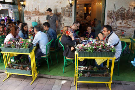ISTANBUL - MAY 18, 2014 - Lunch at a Kebab shop in the bazaar in Istanbul, Turkey