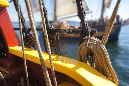 bulwark: Bulwark, standing rigging  and coiled rope of a tall ship sailing   near Kirkland , Washington.